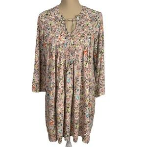 KNOX ROSE Floral Top Blouse tied Sz L, pleated